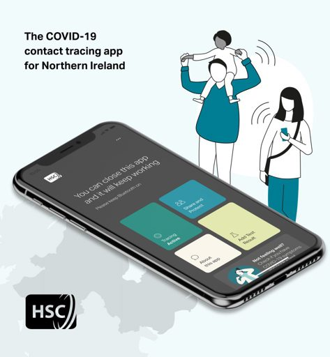 Graphic showing mobile phone with Stop COVID NI app