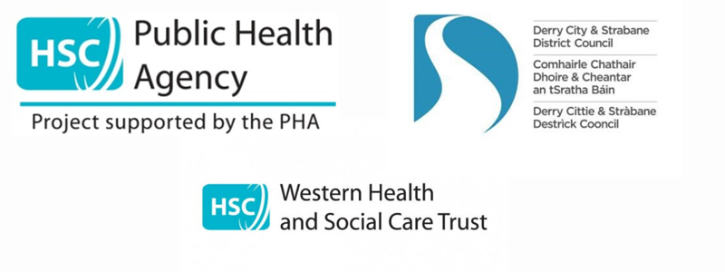 Logos of Public Health Agency, Derry City & Strabane Council and the Western Health Trust