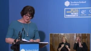 NI First Minister Arlene Foster speaking at an NI Executive Press Briefing on Covid-19 on 21st September 2020