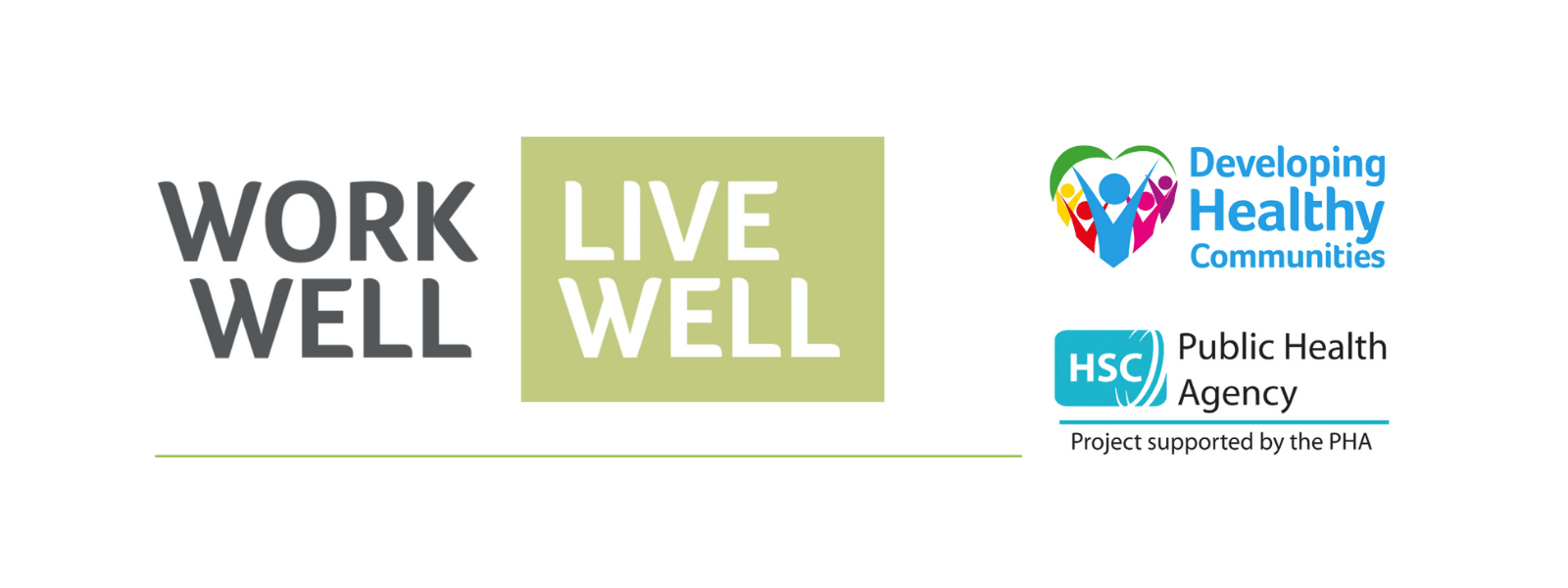 Work Well Live Well logo alongside the Developing Healthy Communities and Public Health Agency logos