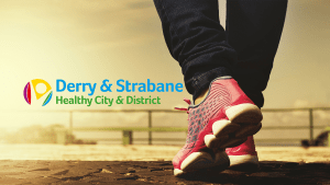 Banner image with Healthy Cities logo and a person  walking